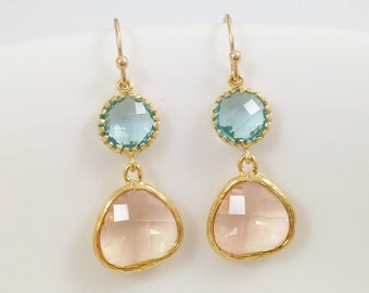 Aquamarine Champagne Gold Earrings - Light Blue and Blush Gold Frame Glass Stone Earrings - Christmas Gift Birthday Present Under 20