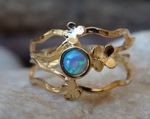 Gold Filled Opal Ring, Family Ring, Wide Opal Ring, Gold Opal Ring, Blue Opal Jewelry, Flower Opal Ring, Unique Blue Opal Ring, Twisted Ring