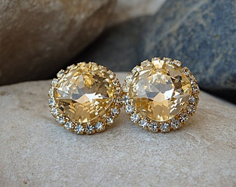 Peach swarovski earrings, Post earrings real swarovski stud earrings, Peach studs, Sparkle earrings, Gold champagne earrings, Stud sparkles