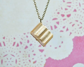 Book Necklace  - Book Jewelry - Book Lover - Librarian Gift - Brass - Teacher Gift - Book Charm Necklace - Personalized Jewelry