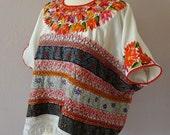 "Guatemalan embellished embroidered Huipil Aquacatan white satin ribbons red black lace 32""W by 28"" L - Med/Large Frida Kahlo Boho resort"