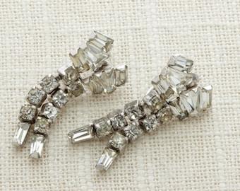 Sterling Silver Earrings Dangle Rhinestone by Phyllis | Clip On Earings | Costume Jewelry | True Vintage 16A