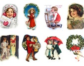 """Large Stickers (each sticker 2.5""""x3.5"""", pack 8 stickers) Scrapbooking Craft Vintage # Happy Christmas Faces FLONZ 149"""