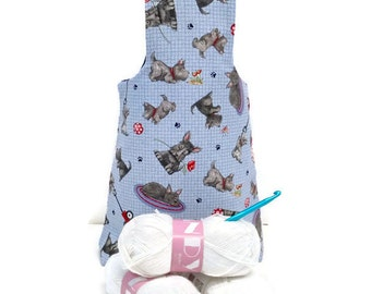 Medium Playful Schnauzer Terrier Puppy Yarn Bag Project Tote S115