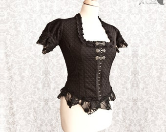 Blouse black, Victorian shirt, Steampunk, romantic goth, Devota, Somnia Romantica, size small - medium see item details for measurements