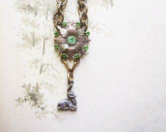 Woodland Deer Assemblage Necklace / August Birthstone / OOAK / Mori Girl / Greenery