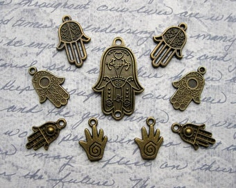 Hand Charm Collection in Bronze Tone - C2327