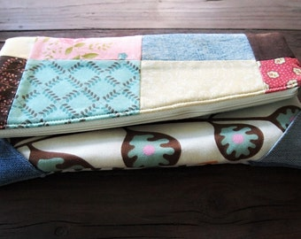 Foldover bag boho clutch purse quilt bag patchwork handbag upcycled bag Prairie style