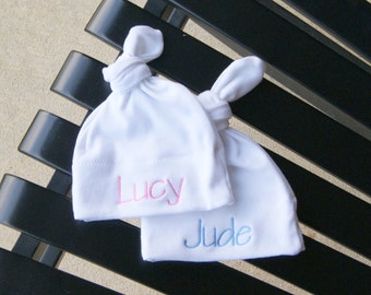 Set of 2 Personalized Baby Hats / Baby Hat / Newborn Hat / Monogrammed Baby Hat / Baby Gift / Baby Shower Gift / Baby Girl / Baby Boy /twins