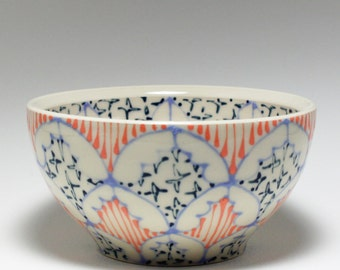 Small Wheel Thrown Handmade Ceramic Bowl with Sky Blue, Melon and Navy Pattern