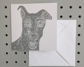 Greyhound handprinted greetings card. Birthday. Any occasion Blank inside for your own message.