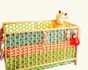Orange Baby Boy Nursery Bedding - Green and Blue - Nursery Bedding - Customizable