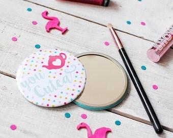 Pocket Mirror | Tea Pot | You Cutea | Polka Dot | Colourful Mirror | Make Up Mirror | Gift For Tea Lovers
