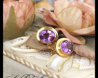 14K Yellow Gold & Amethyst Earrings / Post, Spring Clasp / 7.45 Grams, Est.6TCW / Contemporary February Birthstone Purple / Estate Jewelry