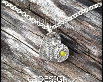 Artisan Made Denim & Hammered Texture Necklace, Sterling Silver Heart Pendant w Yellow Topaz CZ - Mother's Day, Anniversary, Valentine's Day