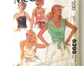1970s Camisole and Cover Up Pattern McCalls 6395 Womens Sleeveless Blouse Top Sewing Pattern Spaghetti Straps Blouson Size 14 Bust 36
