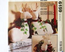 Stuffed Deer, Stag Patterns, 14 inch Deer, 18 inch Wallhanging, McCalls 6159, P393, Soft Sculpture Christmas Home Decor 1990s