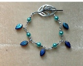 Turquoise & silver Leaf Bracelet with glass bead leaves charms, Silver leaf toggle clasp, turquoise glass pearls