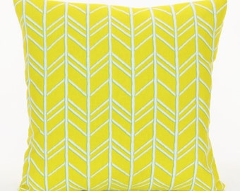 Yellow Throw Pillow Cushion Cover ALL SIZES Yellow White Modern Chevron Couch Pillow Bedding Accent Pillow Decorative Pillow Shams