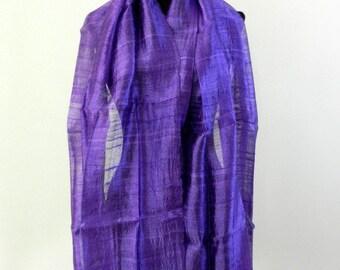 "100 % Thai Raw Pure Silk Scarf Shawl Wrap  24""x62"" Large in Purple H44"