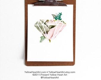 Diamond Geometric Floral Trendy Art by Yellow Heart Art