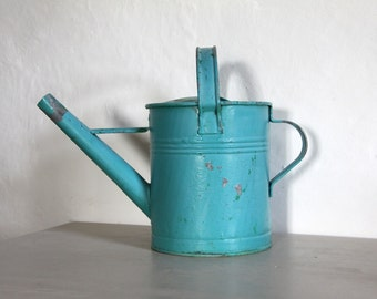 Gorgeous French Vintage Galvanized Watering Can In Turquoise