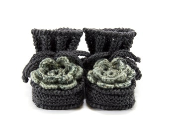 Baby Booties Hand Knitted with Crochet Flower - Gray, 0 - 3 months