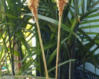 Magic Wand Brass Hair Stick- Clear Quartz , Amethyst , Lumerian Rose Quartz