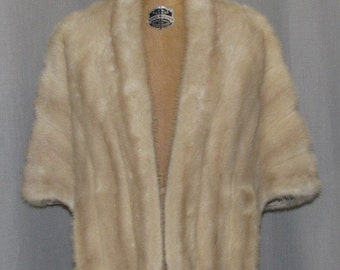 Vintage 1950s Natural Blonde Mink Cape Gunther Jaeckel Furs for Bonwit Teller Silk Lined Hollywood Starlet Evening Wear