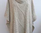 Lovely Knitted beige poncho womans tank romantic feminine Clothing Women's unique gifts READY TO SHIP