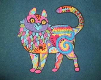 Psychedelic Cat Batik Tee Shirt