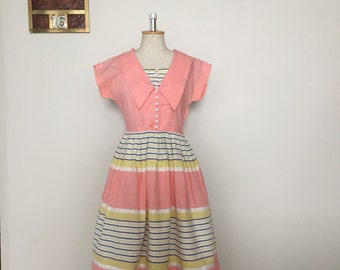 Vintage 40s 50s pink pastel summer dress sailorette