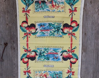 Vintage Printed Linen Kitchen Towel in yellows, teal and red cherries