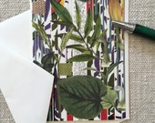 This 'HAITI' greeting card enjoys characteristics of a tropical location with exotic plants, handmade, decoupage 'print' card, blank inside