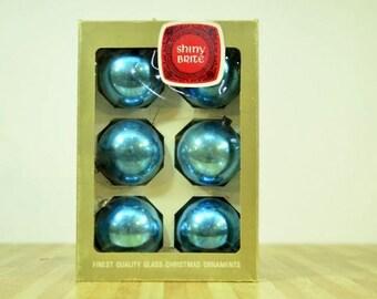 Vintage Shiny Brite Christmas Ornaments: Set of Six Glass Blue Balls Max Eckardt American Made 1967