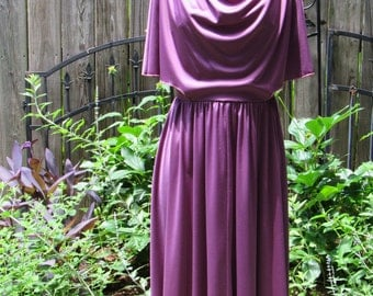 70s Purple Violet Vintage Disco Goddess Party Dress with Slinky Drape, Attached Cape Top, Flutter Sleeves, and Full Skirt / Small Medium
