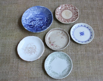 Set of 5 Decorative Ironstone Butter Pats--Vintage Ironstone Dishes