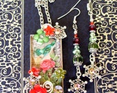 Fancy Pendant and Earring Set (S547) - Christmas Snowflake Design - Bird and Rose Floral Artwork - Crystals and Floral Accents