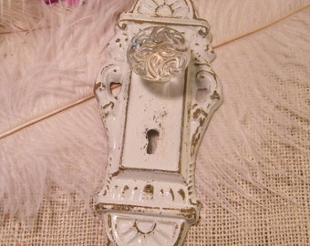 Wall Hook - Faux Door Knob Decoration - Cottage White Hand Painted - Shabby Refinished - Jewelry Holder