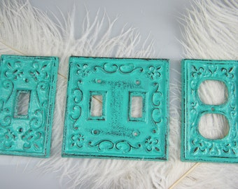 Decorative Plate Covers / Choose Your Style / Electric Outlet or Single Switch or Double Switch Cover Plate / Turquoise Green