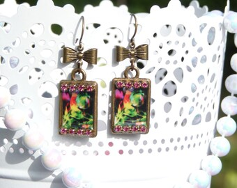 FREE SHIPPING Floral Resin Earrings - Light Weight - Rhinestone - Gift Ideas - For Her - Bridemaids Earrings - Mother Day - Spt - 2016