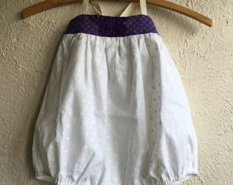 White & Purple Polka Dot Penelope Bubble - Handmade w/Embroidery