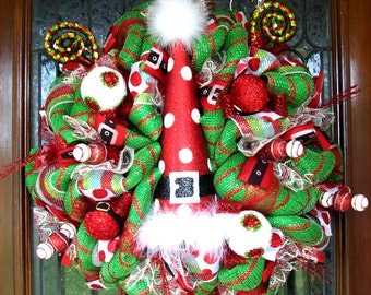 Santa Hat Wreath, Whimsical Christmas Wreath, Christmas wreath, deco mesh wreath, wreath, Christmas decorations, holiday wreaths