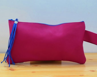 Pink clutch,leather clutch,leather bag,leather purse,pink leather,leather handbag,hot pink bag,hot pink clutch,leather clutch bag,pink bag