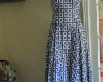 Vintage Sundress / Long Dressy Summer Dress / Navy White Dress / Size 8 Wiggle Dress