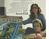 1974 Advertisement Ray Bans 8x11 by Bausch & Lomb Sunglasses Raybans Hipster Couple Convertible Retro 70s Sun Glasses Wall Art Decor