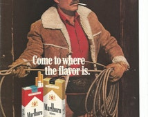 1984 Advertisement Marlboro Cigarettes Smoking 80s Tobacciana Roping Country Horse Cowboy Country Western Art Decor