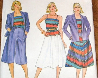 Butterick 4259 Culottes, Skirt, Cami Camisole Top, Women's Misses Vintage 1980s Designer Sewing Pattern Size 14 Bust 36 Uncut Factory Folds