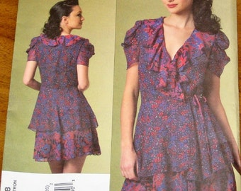 Vogue 1178 Anna Sui Flounced Wrap Dress Womens Misses American Designer Sewing Pattern Size 14 16 18 20 Bust 36 38 40 42 Uncut Factory Folds