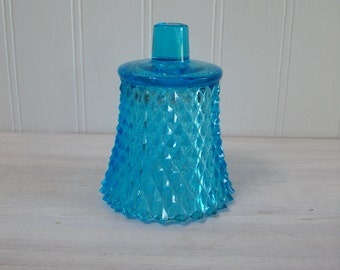 Home Interiors Vintage Glass Turquoise Blue Diamond Candle Cup for a Candle Holder Sconce, Vintage Glass Candle Cup